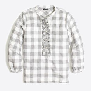 J. Crew Grey White Ruffle Flannel Plaid Shirt